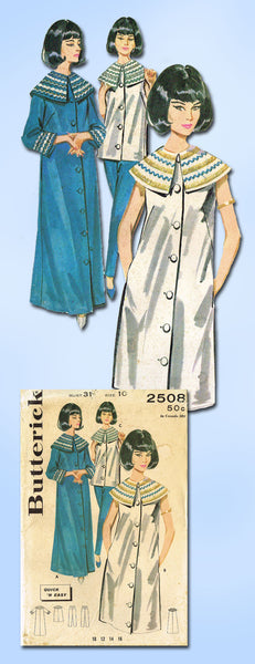 1960s Vintage Butterick Sewing Pattern 2508 FF Misses Cleopatra Robe Sz 10 31B