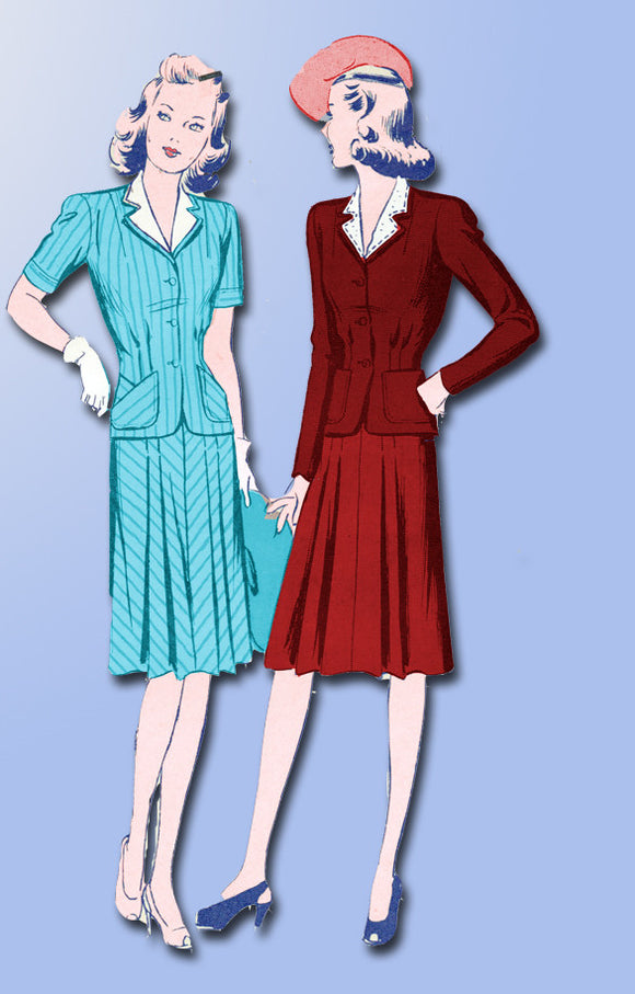 1940s Vintage Butterick Sewing Pattern 2520 Uncut Misses WWII Suit Size 15 33B