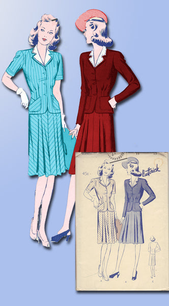 1940s Vintage Misses WWII Suit Uncut 1942 Butterick Sewing Pattern Size 15