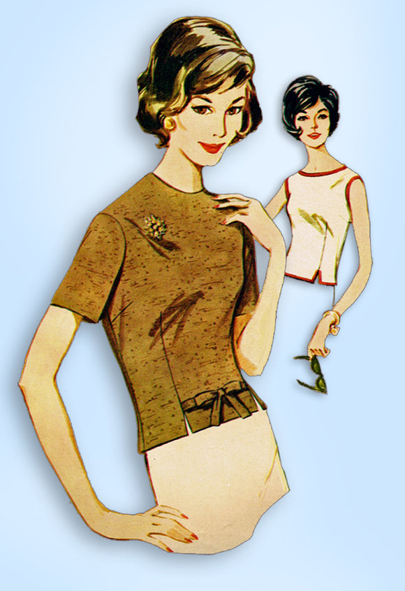 1960s Vintage Butterick Sewing Pattern 2545 Misses Back Buttoned Blouse Sz 34 B