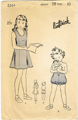 1940s Vintage Butterick Sewing Pattern 2554 WWII Girls Slip and Bloomers Sz 10