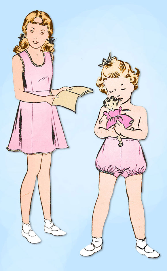 1940s Vintage Butterick Sewing Pattern 2554 Uncut Toddler Girls Slip & Bloomers Sz 2 - Vintage4me2