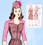 1940s Vintage Butterick Sewing Pattern 2589 Uncut WWII Dress w Laced Bodice 33B
