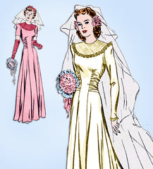 1940s Vintage Butterick Sewing Pattern 2600 Misses Wedding Dress w Train Sz 36 B