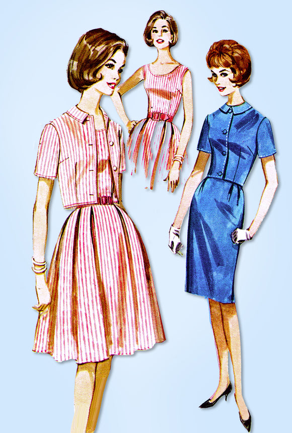 1960s Original Vintage Butterick Pattern 2633 Uncut Sun Dress & Jacket Sz 36 B