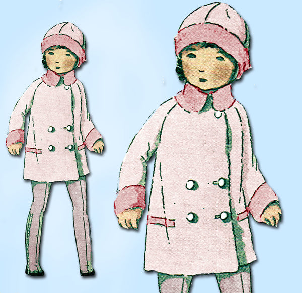 1920s Vintage Butterick Sewing Pattern 2731 Toddler Girls Coat Raglan Sleeve Sz4 - Vintage4me2
