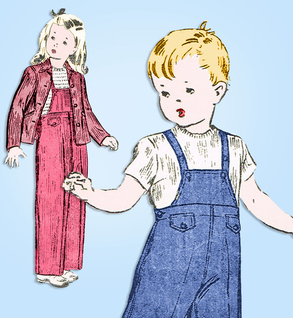 1940s Vintage Butterick Sewing Pattern 2744 Uncut Toddler Overalls & Jacket Sz 4