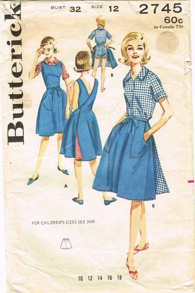 1960s Vintage Butterick Sewing Pattern 2745 Misses Wrap Skirt Blouse Shorts 32B