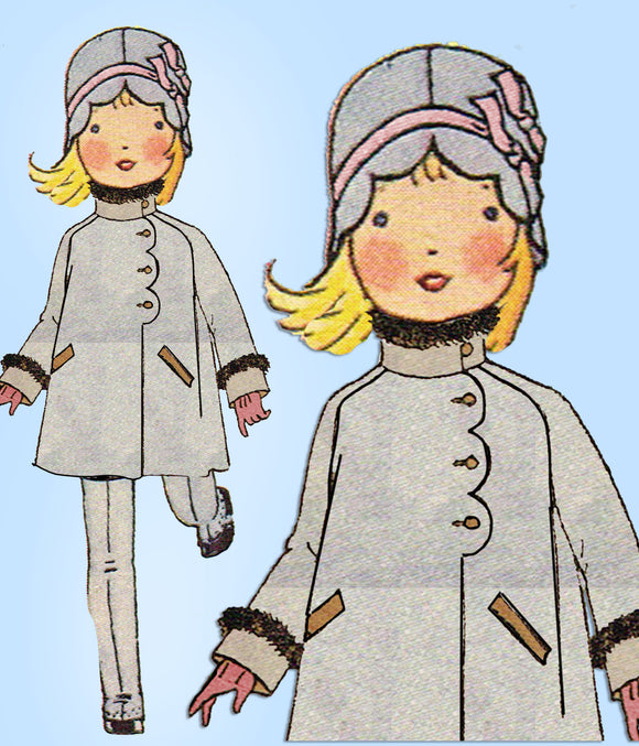 1920s Vintage Butterick Sewing Pattern 2829 Toddler Girls Scalloped Coat Size 4 - Vintage4me2