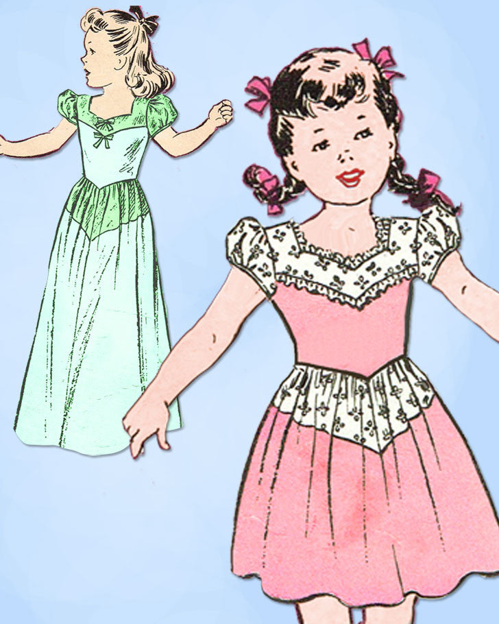 1940s Vintage Butterick Sewing Pattern 2847 WWII Toddler Girls Dress Gown Size 4