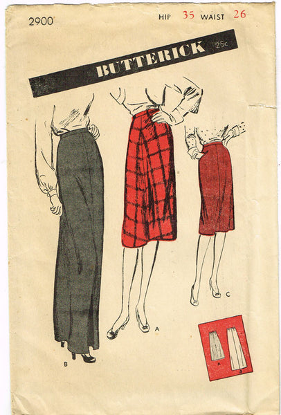 1940s Vintage Butterick Sewing Pattern 2900 Uncut Misses Day or Night Skirt Sz 26W - Vintage4me2