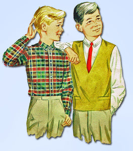 1960s Vintage Butterick Sewing Pattern 2900 Toddler Boy's Shirt and Vest Size 4