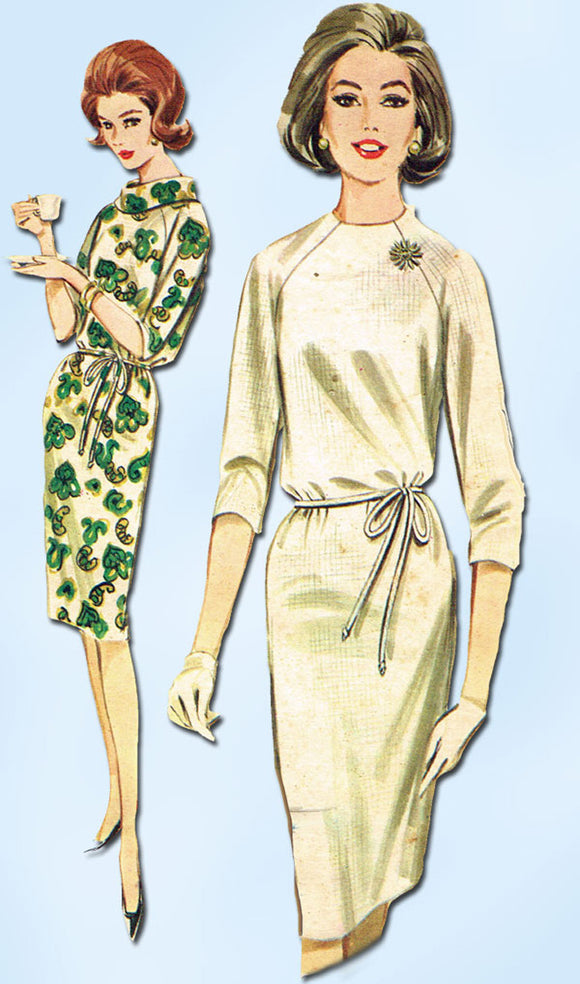 1960s Vintage Butterick Sewing Pattern 2907 Easy Misses Belted Sheath Dress 32B