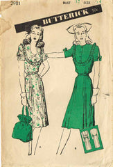 1940s Vintage Butterick Sewing Pattern 2981 Misses Street Dress Size 14 32 Bust - Vintage4me2