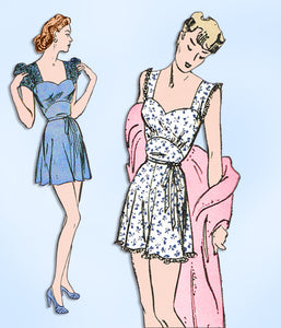 1940s Vintage Butterick Sewing Pattern 3018 Misses WWII Pajama Romper Sz 38 Bust