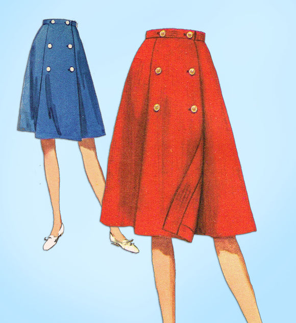 1960s Vintage Butterick Sewing Pattern 3042 Easy Petite Misses Skirt Sz 23 Waist - Vintage4me2