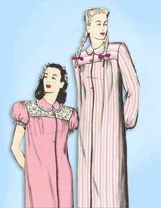 1940s Vintage Butterick Sewing Pattern 3116 Uncut Misses Nightgown Size 30 Bust