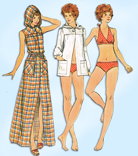 1960s Vintage Butterick Sewing Pattern 3161 Uncut Bikini & Hooded Robe Size 32 B