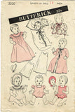 1940s Vintage Butterick Sewing Pattern 3230 WWII Baby Doll Clothes Set 14 inch - Vintage4me2