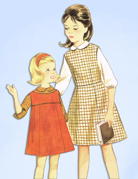 1960s Vintage Butterick Sewing Pattern 3237 Uncut Toddler Girls Jumper Dress Sz4