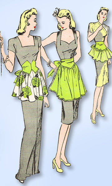 1940s Vintage Butterick Sewing Pattern 3250 FF Misses Fancy Dress Apron Fits ALL - Vintage4me2