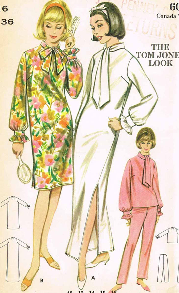 1960s Vintage Butterick Sewing Pattern 3257 Uncut Misses Tom Jones Nightgown 36B - Vintage4me2