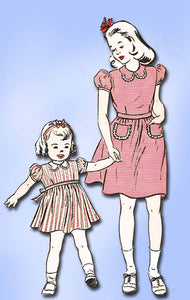 1940s Vintage Butterick Sewing Pattern 3359 Uncut WWII Toddler Girls Dress Sz 2 - Vintage4me2
