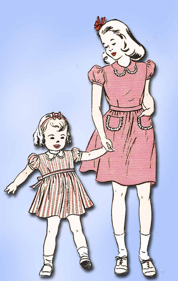 1940s Vintage Butterick Sewing Pattern 3359 WWII Toddler Girls Dress Size 6 24 B - Vintage4me2