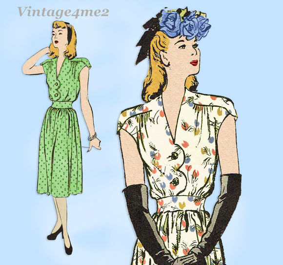 Butterick 3382: 1940s Misses Uncut WWII Dress Sz 32 B Vintage Sewing Pattern