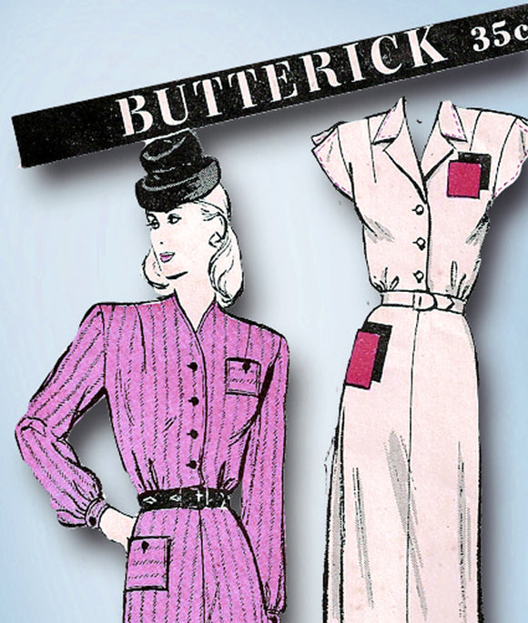 1940s Vintage Butterick Sewing Pattern 3405 Uncut WWII Misses Day Dress Sz 30 B - Vintage4me2