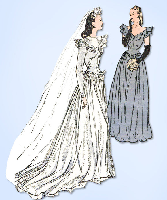 1940s Vintage Butterick Sewing Pattern 3685 Rare WWII Misses Wedding Dress Sz 14 - Vintage4me2