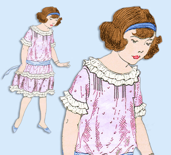 1920s Vintage Butterick Sewing Pattern 3708 Uncut Girls Edwardian Dress Size 8