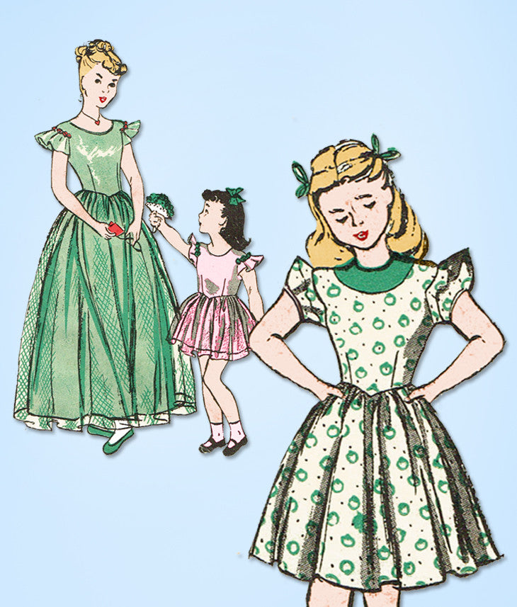 1940s Vintage Butterick Sewing Pattern 3794 Uncut Toddler Girls Dress or Gown 6