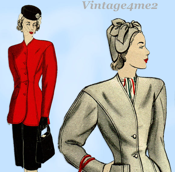 Butterick 3925: 1940s Uncut Misses Tunic Suit Size 32 B Vintage Sewing Pattern