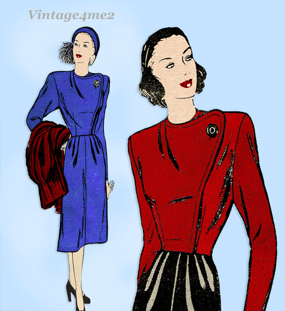 Butterick 3929: 1940s Uncut Misses Stylish Suit Size 32 B Vintage Sewing Pattern