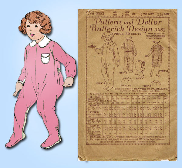 1920s Vintage Butterick Sewing Pattern 3982 Toddler Girls Hooded Pajamas Size 5 - Vintage4me2