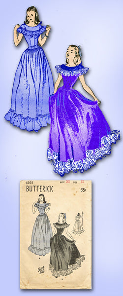 1940s Vintage Misses Dancing Dress 1946 Butterick Sewing Pattern 4005 Size 12
