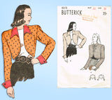 1940s Vintage Butterick Sewing Pattern 4070 Misses Bolero Jacket Set Sz 30 Bust - Vintage4me2