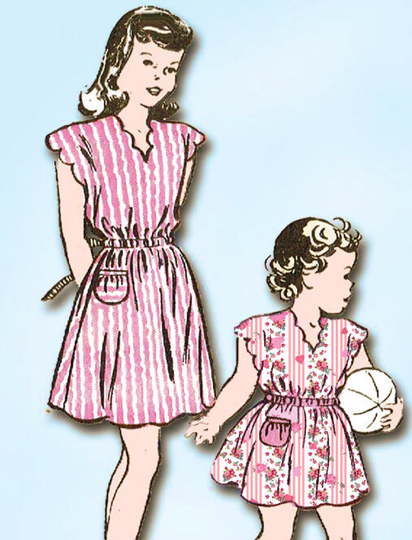 1940s Vintage Butterick Sewing Pattern 4131 Easy Toddler Girls Scalloped Dress 4 -Vintage4me2