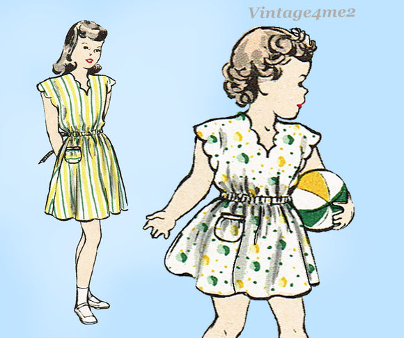 1940s Vintage Butterick Sewing Pattern 4131 Easy Uncut Toddler Girls Dress 6