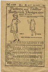 1920s Vintage Butterick Sewing Pattern 4205 Toddler Girls Princess Slip Size 6