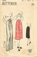 1940s Original Vintage Butterick Pattern 4235 Easy Misses Day or Night Skirt 24W