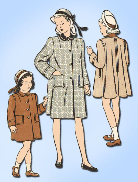 1940s Vintage Butterick Sewing Pattern 4261 Toddler Girls Flared Coat Size 6 - Vintage4me2