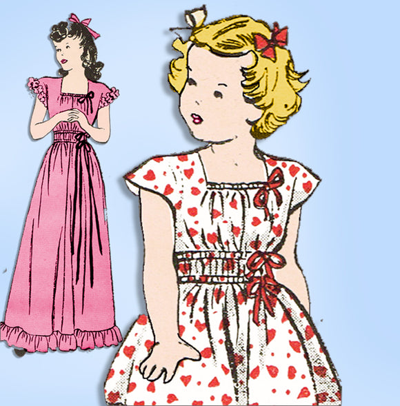 1940s Vintage Butterick Sewing Pattern 4313 Easy Toddler Girls Dress or Gown Sz6