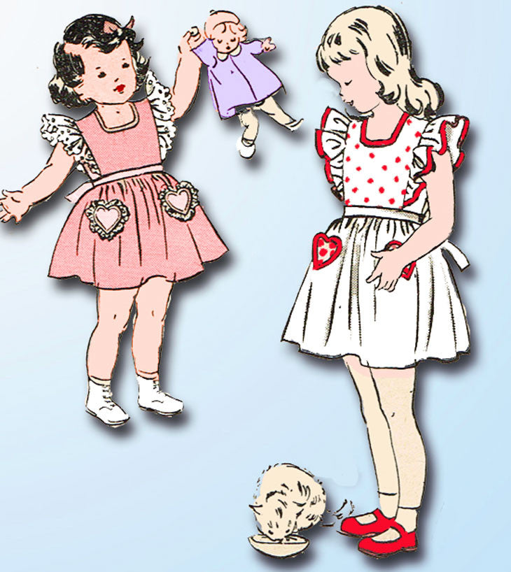 1940s Vintage Butterick Sewing Pattern 4515 Toddler Girls Pinafore Dress Size 2 - Vintage4me2