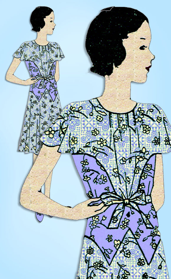 1930s Vintage Butterick Sewing Pattern 4567 Uncut Teen Girls Party Dress Size 14