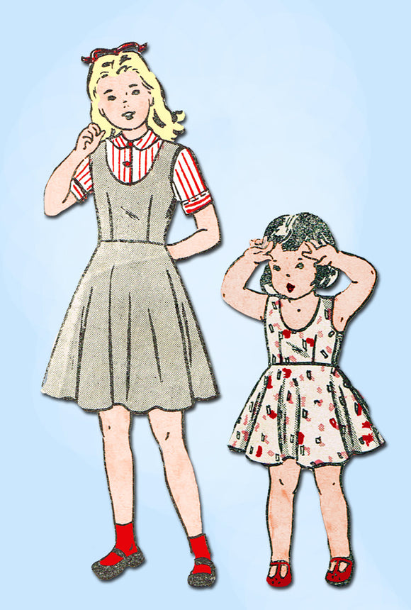 1940s Vintage Butterick Sewing Pattern 4573 Little Girls Jumper Dress Size 10 - Vintage4me2