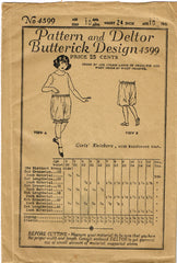 1920s Rare Vintage Butterick Sewing Pattern 4599 Uncut Girls Knickers Size 10