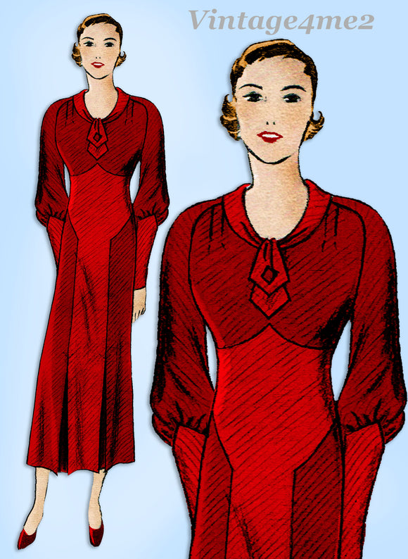 Butterick 4796: 1930s Glamorous Misses Dress Size 36 Bust Vintage Sewing Pattern