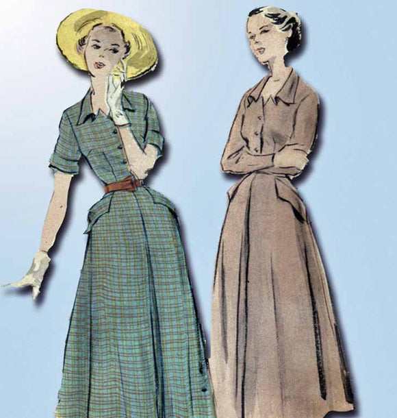 1940s Vintage Butterick Sewing Pattern 4893 Misses Shirtwaist Dress Size 14 32B - Vintage4me2
